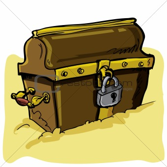 Cartoon illustration of a pirate chest