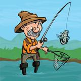 Cartoon fisherman catching a fish