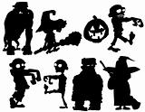 Silhouette set of Halloween characters