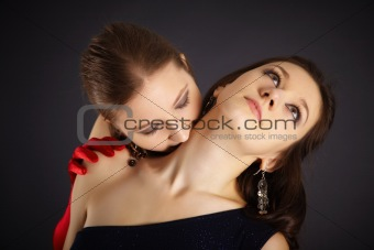 Two girls portrayed vampire and the sacrifice