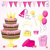 Little princess&#39;s birthday party elements