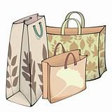 Shopping bags with autumn motif