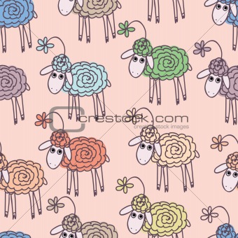 Background with funny sheep