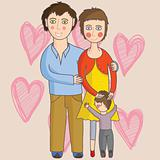 Family with Pregnant Mom - Vector