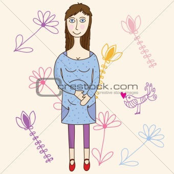 Beautiful pregnant girl on summer floral background