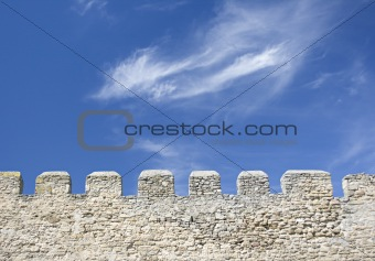 Merlons of an old fortress wall