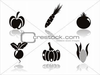 black vegetables icons