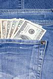 Dollars are in jeans pocket
