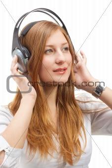 Beautiful women listening music.