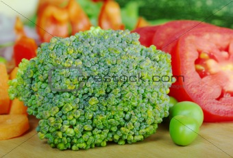 Broccoli on Wooden Board