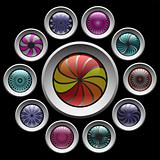 Buttons with color decorative pattern. Design elements set.