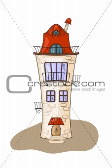 beautiful cartoon medieval house