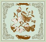 Vector card: Vintage butterflies on a branch