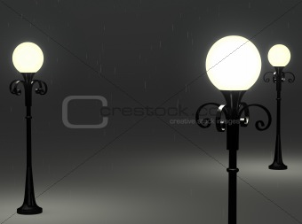 3d old fashioned lamp posts