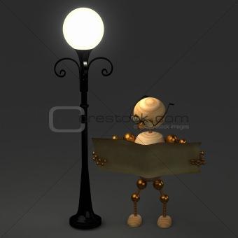 3d wood man standing near lamppost