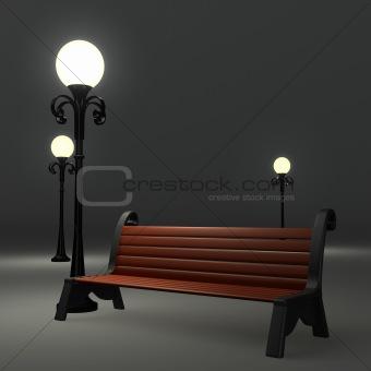 3d bench near the street lamppost