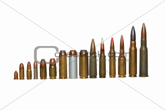ammunition isolated on white.