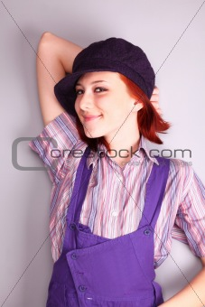Beautiful girl in violet coverall