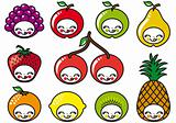 happy fruits faces, vector