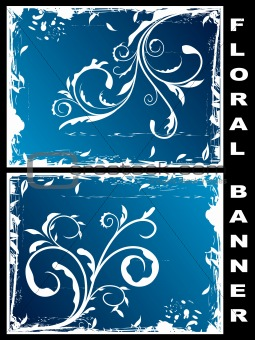 Grunge floral banners