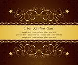 gold floral greeting cards and invitation