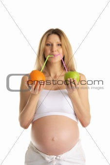 pregnant woman drinks fruit juice