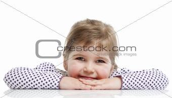 little girl is sitting