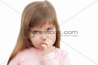 little girl picking nose