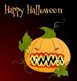 Illustration the orange halloween pumpkin