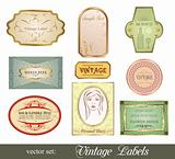 set retro variation vintage labels