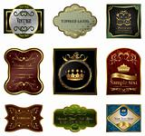 Set illustration of decorative color gold frames labels