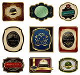 set of decorative color gold frames labels