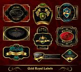 set colorful gold-framed labels
