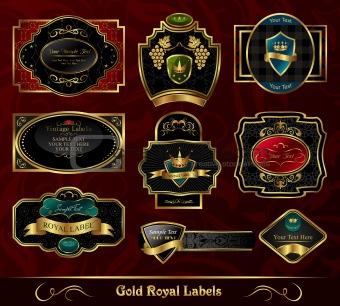 set colorful gold-framed labels