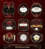 set dark gold-framed labels