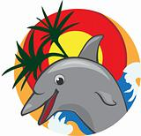 Jumping dolphin color vector illustration