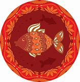 ornamental fish on ethnic floral circle background
