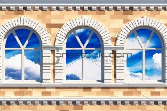 facade  with three windows