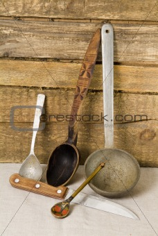 Old spoon and knife