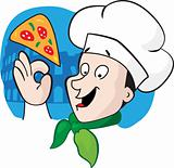 The chief of cooks with a pizza