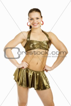 beautiful woman bodybuilder posing against white background