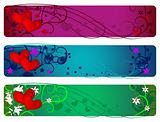 Valentine banner set. Day, evening and night