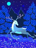 Christmas deer on a winter background with snowflakes