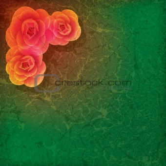 abstract grunge illustration with roses