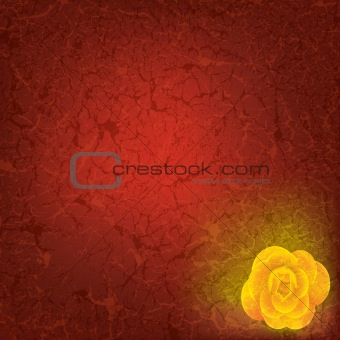 abstract grunge illustration with yellow rose