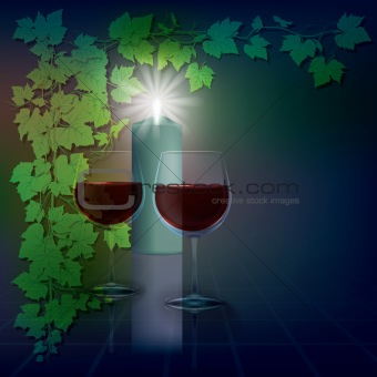 abstract illustration with candles and wineglass on blue