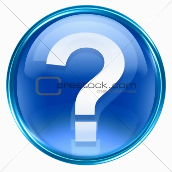 question symbol icon blue, isolated on white background