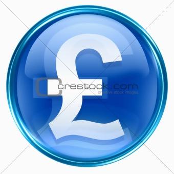 Pound icon blue, isolated on white background
