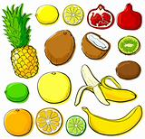 Tropical fruits set without gradients