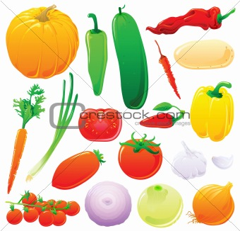 Vegetable set without outlines